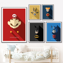 Batman Nursery Wall Art Canvas Painting Superman Cartoon Nordic Poster Wall Pictures For Living Room Baby Room Decor Unframed цена и фото