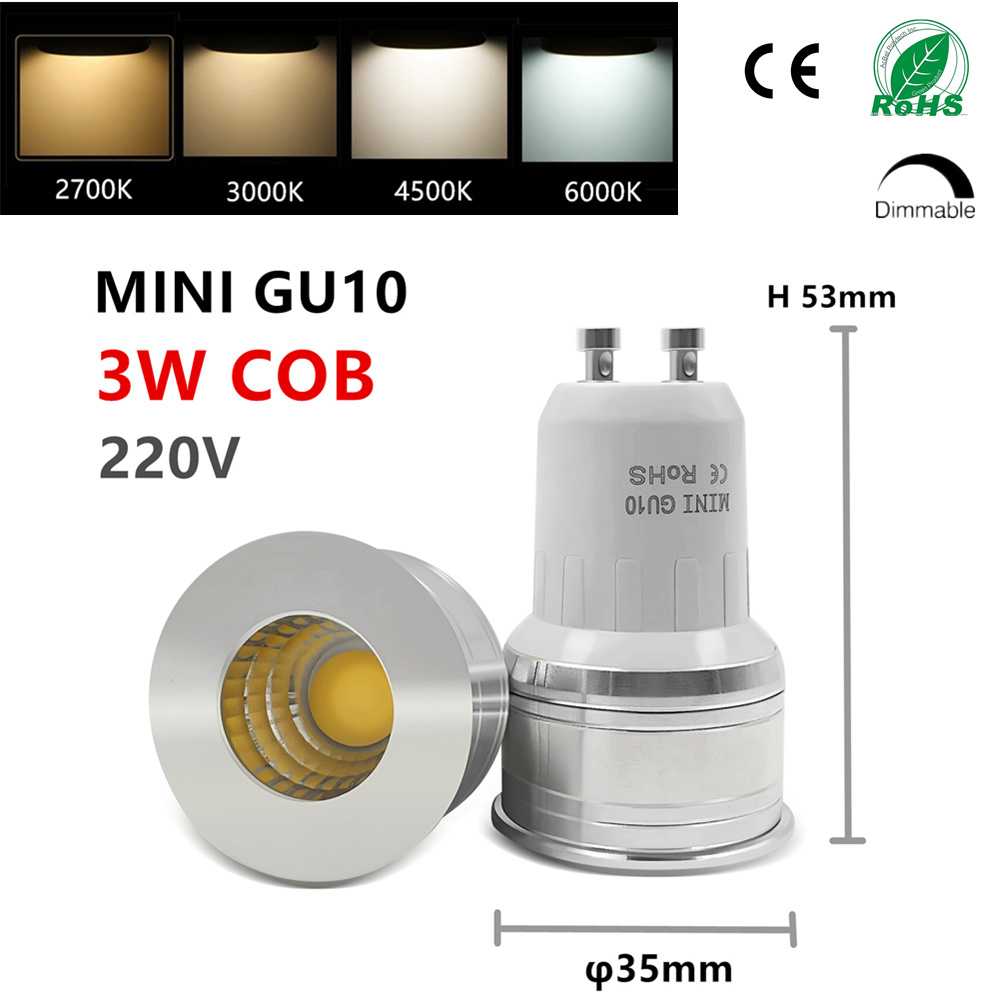 LED GU10 COB Mini GU10 MR16 MR11 3w 35mm Dimmable 2700k Warm White Daylight Cold White Spot Light Bulb Lamp Replace Halogen Lamp