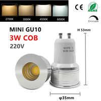 LED GU10 COB mini GU10 MR16 MR11 3w 35mm regulable 2700k blanco cálido luz del día blanco frío punto lámpara reemplazar lámpara halógena