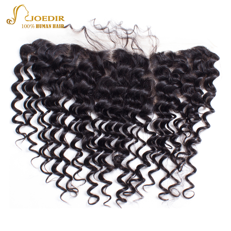 Joedir Deep Wave Hair Bundles with Frontal Closure Non Remy Malaysian Human Hair 3 Bundles with Lace Frontal Pre Plucked Hair