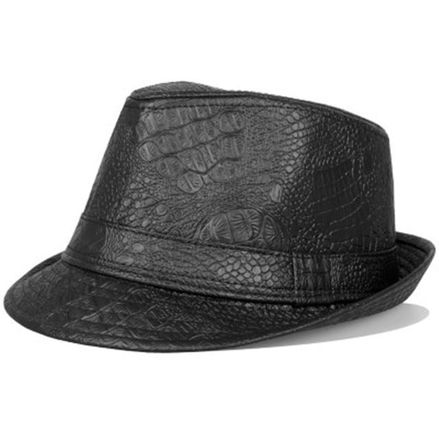 Male Formal headear Men Business Faux Leather Fedora Hats -in ... 2625941a4fc