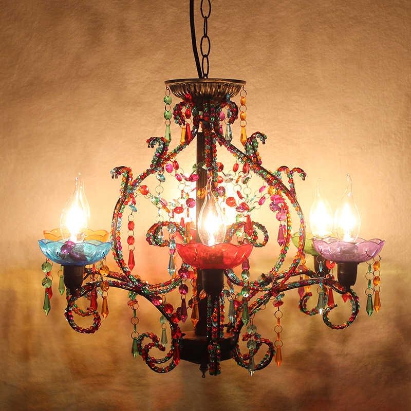 candle crystal pendant lamp living room pendant light Villa lighting restaurant bedroom 6 heads colourful iron lamps ZA412652 ems free shipping fashion pendant light cloth lamp cover crystal pendant light wrought iron candle lamp rustic lighting bq6 3