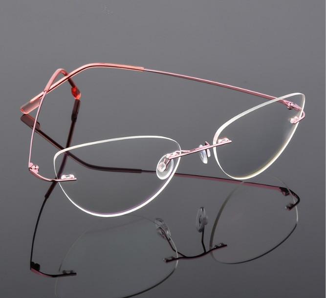 Cat Eye Titanium Rimless Reading Glasses Ultra-light Women Alloy Rimless Reading Eyeglasses Presbyopic Glasses +0.50 To +6.00