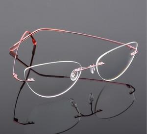 Image 1 - Cat eye titanium rimless Reading Glasses ultra light women alloy Rimless reading eyeglasses Presbyopic glasses +0.50 to +6.00