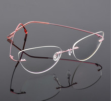 Gafas de lectura sin montura de titanio ojo de gato para mujer, anteojos de lectura ultraligeros de aleación sin montura, adecuados para presbicia + 0,50 A + 6,00