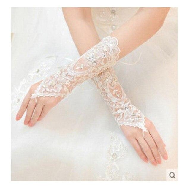 2016 luvas de casamento longo com frisado e Seuqins branco sem dedos luvas de noiva