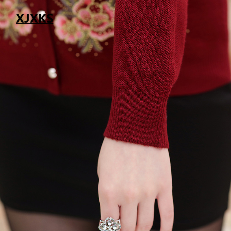 Bouton rouge Xjxks Taille Chandails bourgogne Automne 8859 La Femmes Et  Femme Plus Chandail Bleu Printemps Tricot ... f691dfab95b