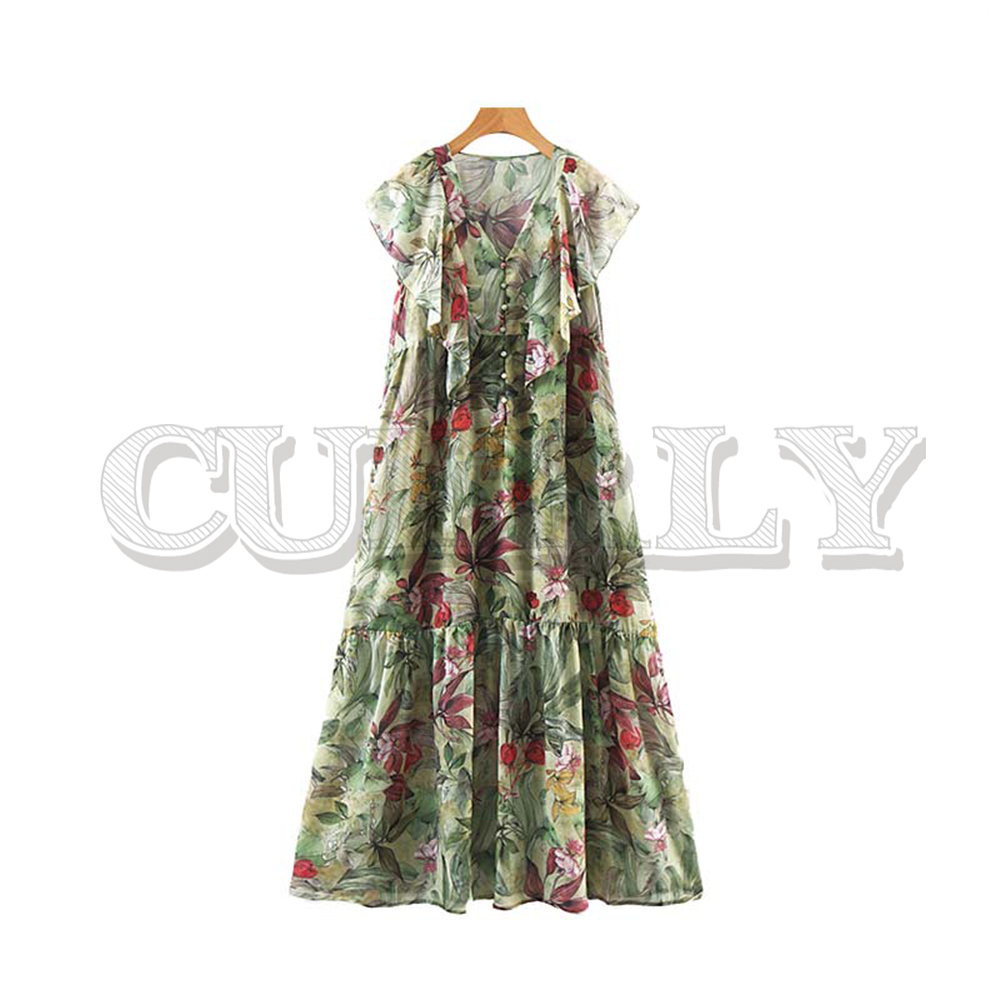 Jolie femmes à volants imprimé floral col en V cheville longueur robe à manches courtes bouton design femme été robe longue décontractée