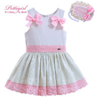 Pettigirl Summer Girls Dress With Pink Bow Jacquard Lace Hem Baby Dresses With Headwear Boutique Kids Clothing G-DMGD906-780