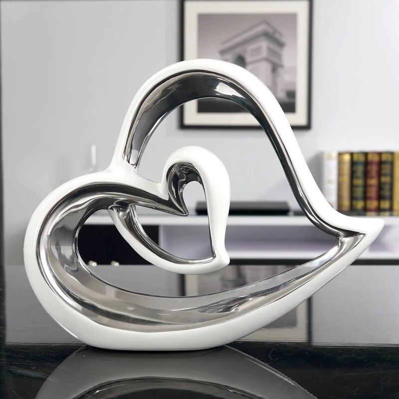 Artisanat amour coeur en forme de Figurines Art Sculpture en céramique Art & artisanat décoration de la maison accessoires cadeau d'anniversaire R801