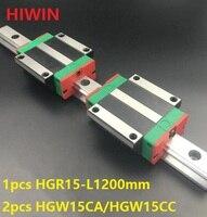 1 шт. 100% Оригинал Hiwin Линейные направляющей HGR15 L 1200 мм + 2 шт. HGW15CA HGW15CC линейных фланцевые блок для ЧПУ