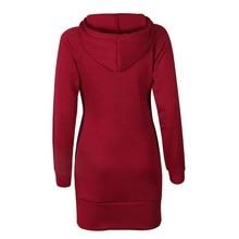 Warm Winter High Quality Hooded Dresses Pocket Long Sleeved Casual Mini Dress Sportwear Women Clothings LX130