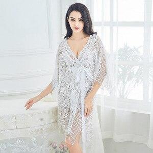 Image 3 - Lisacmvpnel 3 Pcs Hollow Sexy Women Robe+Nightgown+G String Sets Long Section Breathable Women Bathrobe