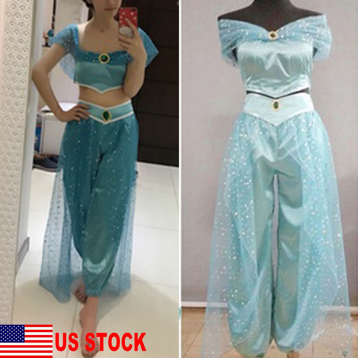 Aladdin Jasmine Princess Cosplay Women Girl Fancy Dress Up Party Costume Sets