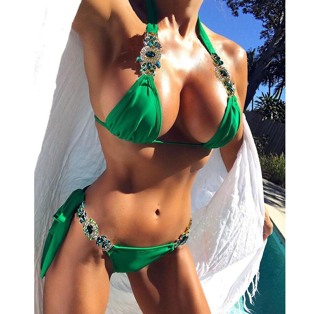 2018 Bandage Bikini Set Beachwer Bathing Suit Sexy Green Swimsuit Swimwear Push Up Jewelry Bikini Swimming Suit For Women Summer 2018 sexy lace bikini swimwear women swimsuit halter push up bikini set bandage swimsuit bathing suit swimming suit for women xl