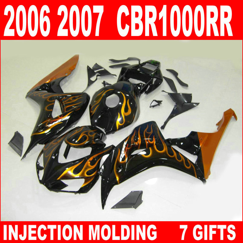 Free customize motorcycle for HONDA cbr 1000 rr 2006 2007 fairings 06 07 black with gold flames CBR1000RR fairing IBF85 aftermarket free shipping motorcycle parts eliminator tidy tail for 2006 2007 2008 fz6 fazer 2007 2008b lack