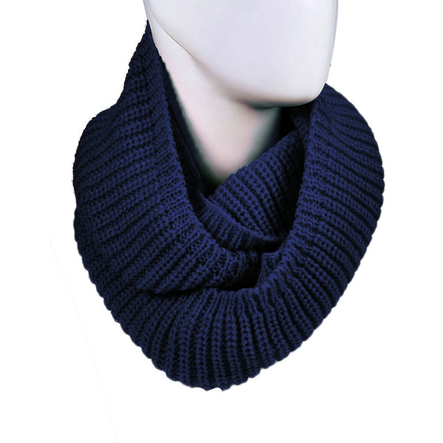 Warm Infinity Two Circle Cable Knit Cowl Neck Long Men Women Unisex