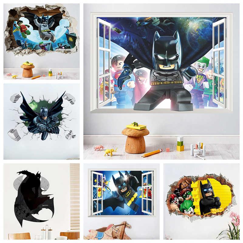 Фото Мультфильм Бэтмен наклейки на стену для детской комнаты украшения супер Heros