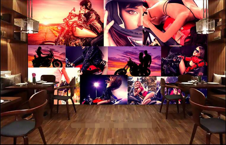 3d room wallpaper custom mural non-woven picture wall sticker 3 d Motorcycle beauty bar painting photo 3d wall murals wallpaper 2016 3d room wallpaper custom non woven wall sticker summer romantic sexy beauty flower photo 3d wall murals wallpaper c0402