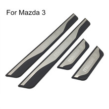 For Mazda 3 AXELA 2014 2015 2016 2017 2018 Auto Door Sill Scuff Plate Guard Welcome Pedal Cover Stickers Car Styling Accessories
