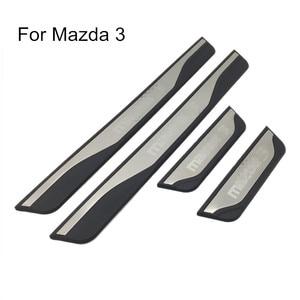 Image 1 - Voor Mazda 3 AXELA 2014 2015 2016 2017 2018 Auto Instaplijsten Scuff Plaat Guard Welkom Pedaal Cover Stickers Auto styling Accessoires