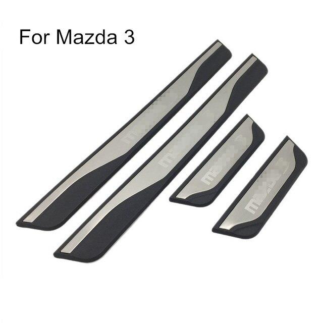 Voor Mazda 3 AXELA 2014 2015 2016 2017 2018 Auto Instaplijsten Scuff Plaat Guard Welkom Pedaal Cover Stickers Auto styling Accessoires