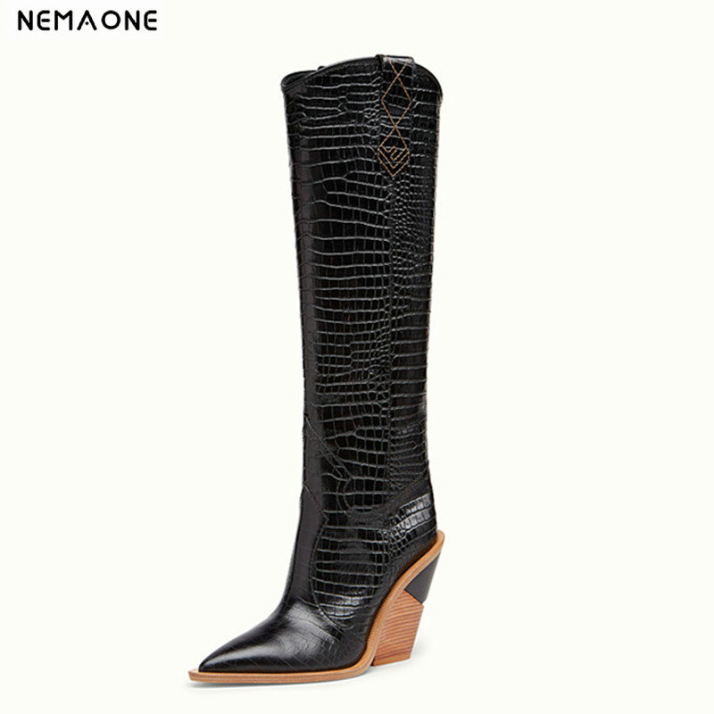 Fashion Embossed Microfiber Leather Women knee high Boots Toe Western Cowboy Boots Chunky High Heels Motorcycle Boots size 34-46Fashion Embossed Microfiber Leather Women knee high Boots Toe Western Cowboy Boots Chunky High Heels Motorcycle Boots size 34-46