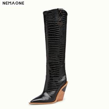 e6be9638004 BONJOMARISA 2019 Otoño Invierno estilo occidental plataforma gruesa  Mediados de pantorrilla botas Mujer talla grande 34-48 tacones altos  zapatos de mujer ...