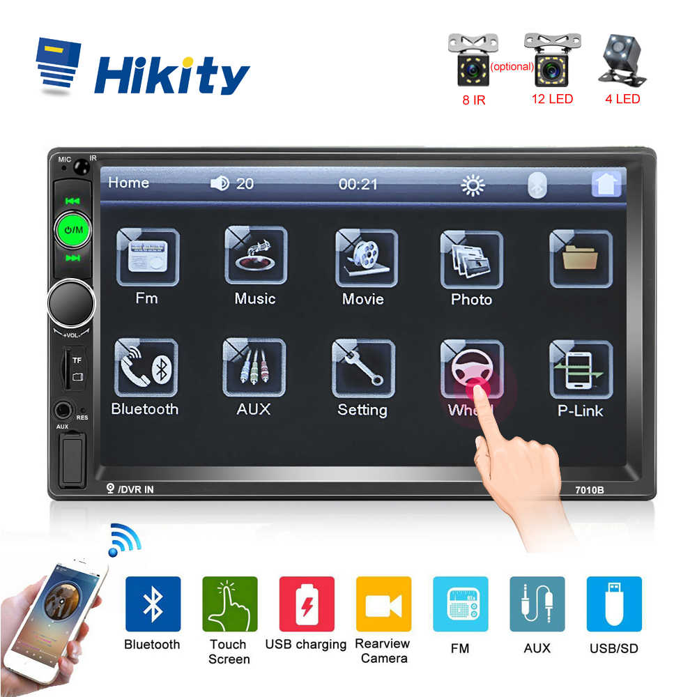 Hikity 2DIN กระจก Link Android Autoradio มัลติมีเดีย MP5 Player 7 ''HD Touch Screen Bluetooth USB FM กล้อง AUX 7010B