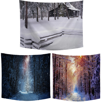 3D Winter Snow Wall Tapestry House Tree Forest Sunlight Beautiful White Snow Tapestry Living Room Bedroom Personality Decoration