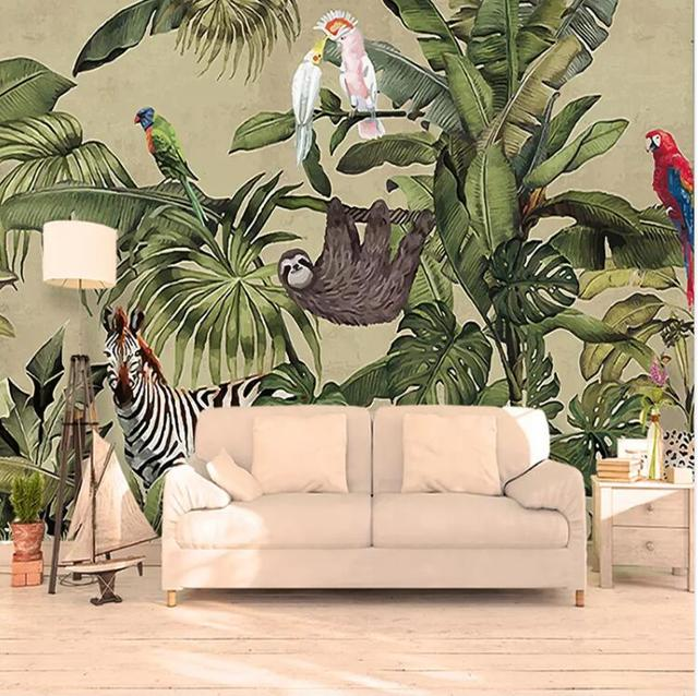 Custom 3d Photo Wallpaper Vintage Tropical Rain Forest Bird Palm