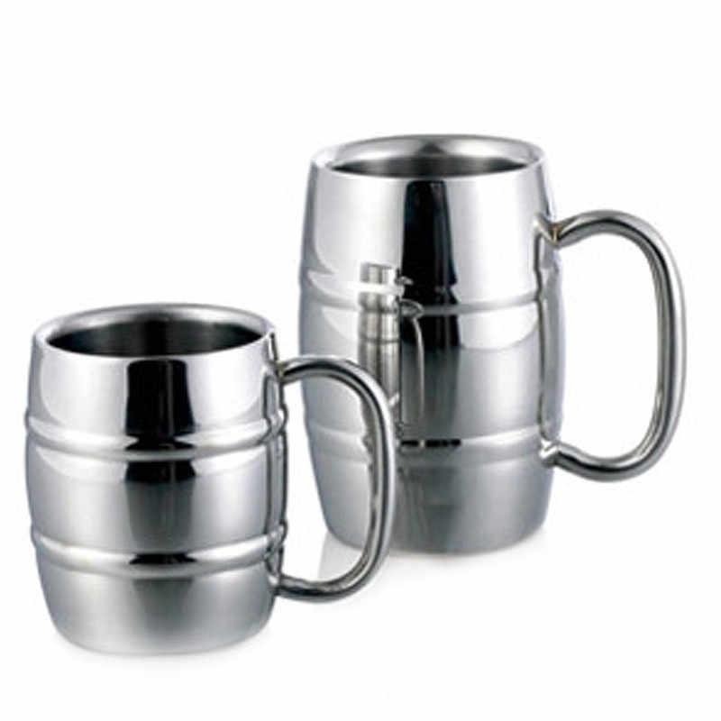 2Pcs Double Wall Beer Mugs Stainless Steel Milk Tea Cups Camping Drinkware