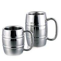 Caneca de café portátil de 300/500ml  xícaras de aço inoxidável de parede dupla para café  leite  chá com alça  xícaras portáteis bebidas para acampamento