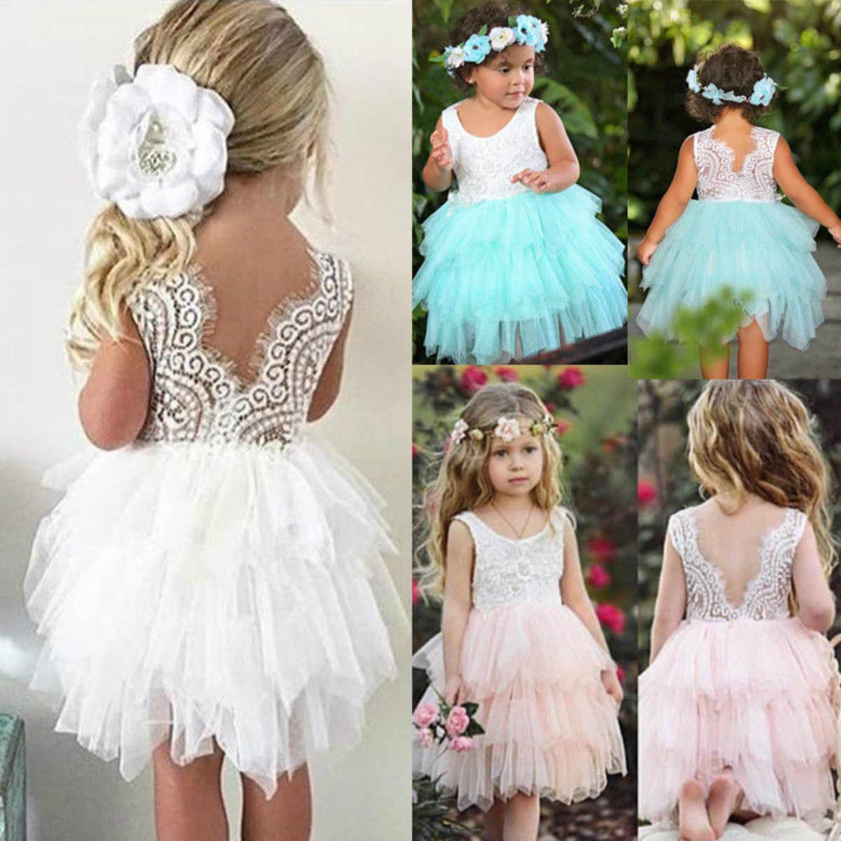826aa24978 Kid Baby Girl Sleeveless Lace Hollow Out Tulle Tutu Dress Party Wedding  Princess Sundress Hot