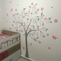 Modern Circle Tree Birds Flower Butterfly Nursery Wall Stickers Girl's Bedroom Vinyl Wall Art Decal Home Decor Size 150*200 cm
