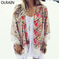 Olrain New Fashion Women Casual Floral Print Kimono Cardigan Coat Lace Crochet Loose Chiffon Blouse tops Outwear
