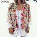 Olrain Nova Moda Feminina Casual Floral Impressão Kimono Casaco Cardigan Rendas De Croché Solto Chiffon Blusa tops Outwear