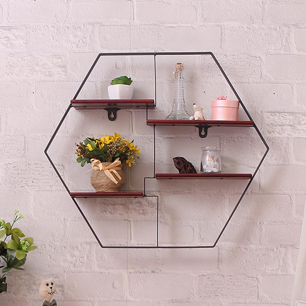 все цены на Six corner iron art wall bookshelf rack antique solid wood wall hanging rack creative wall partition shelf shelf lo8131105