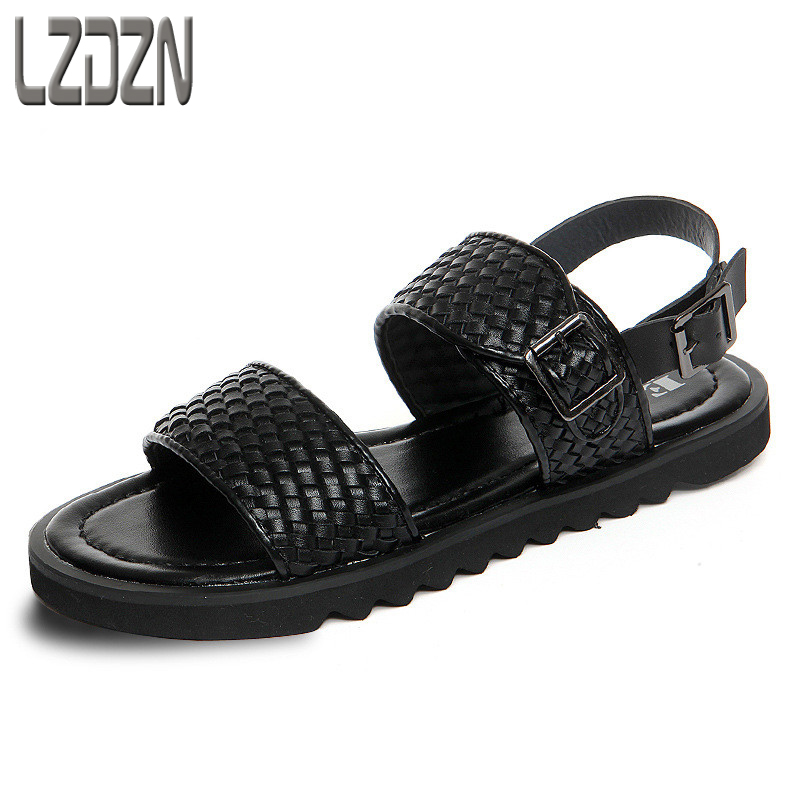Summer casual sandals, Korean tide beach shoes, men's Rome sandals, thick soles, non slip ventilation, knit toes, men's sandals 2016 summer new boys and girls shoes korean sports beach sandals wear non slip