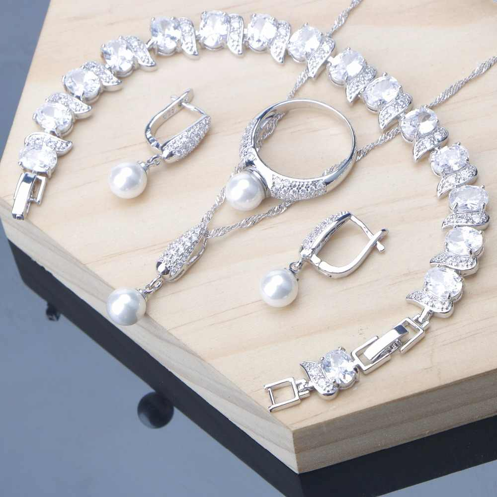 White Pearl Jewelry Sets For Women 925 Silver Jewelry White Zirconia Bracelet Clip Earrings Ring Necklace Set 2 Option 328 Gifts