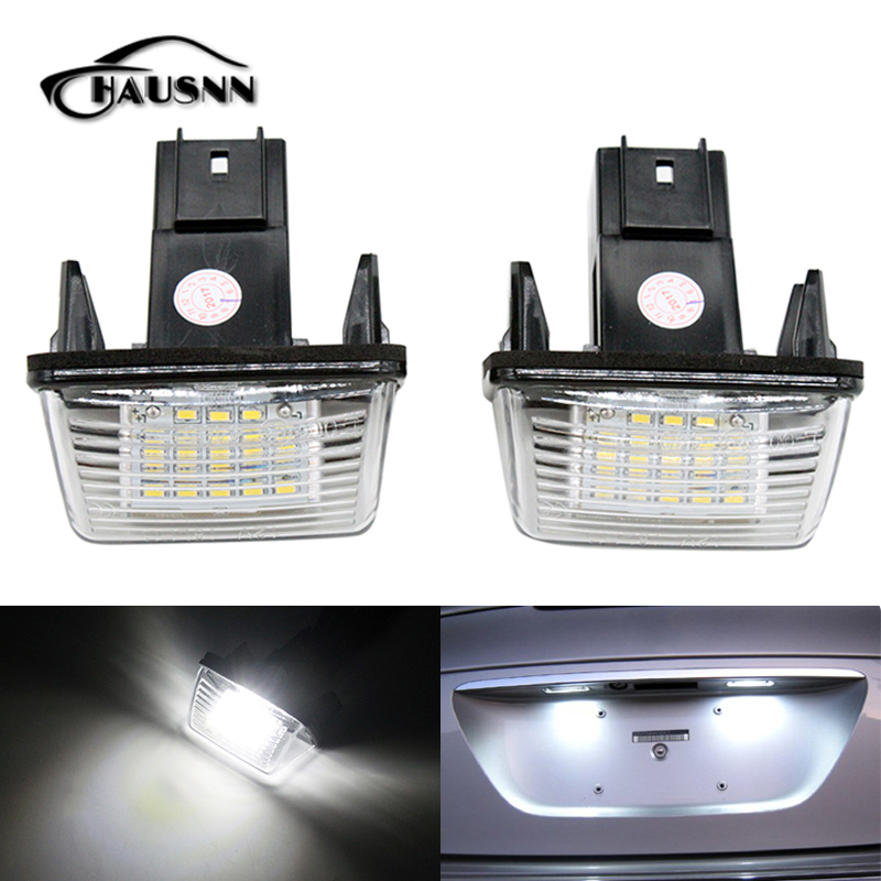 HAUSNN 2Pcs/Set LED Number License Plate Lights for Citroen C3 C4 C5 C6 XSARA BERLINGO SAXO PICASSO for citroen berlingo 2 berlingo 3 c2 c2 enterprise scoe 2015 new 2x6smd 5050led license plate light bulb source car styling