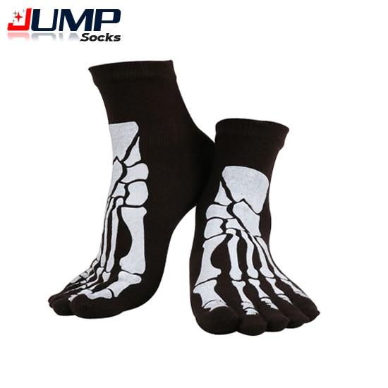2015 Punk Rock Mens Toe Socks Skull Design Hip Hop Cotton Sock Five Fingers