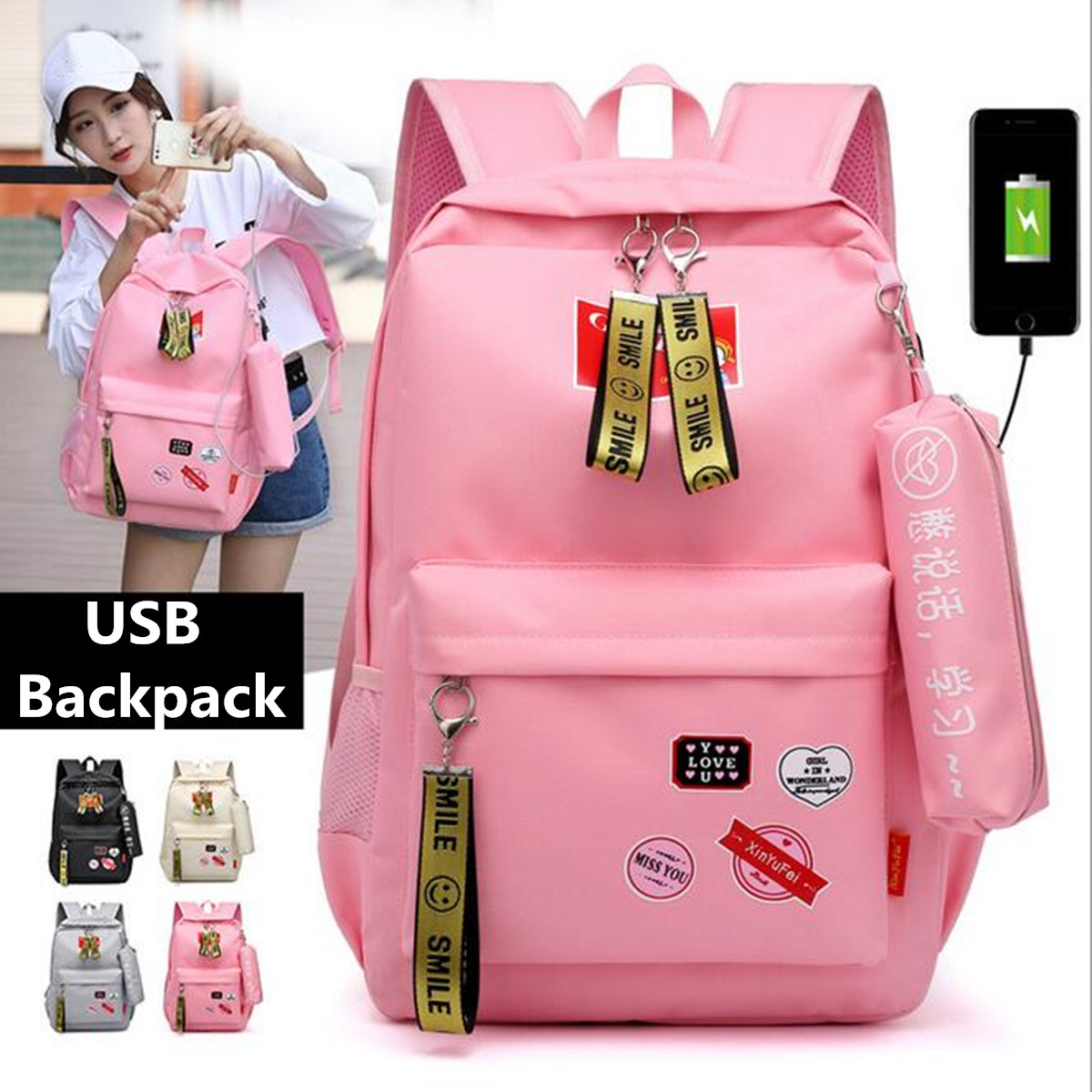 Women Backpack USB Charging Oxford Cloth Backpacks School Bags For Teenagers Girl Travel Backpack School Bags With Pencil Case