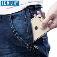 IEMUH Plus Size Jeans Man Denim Jeans Casual Middle Waist Loose Long Pants Male Solid Straight