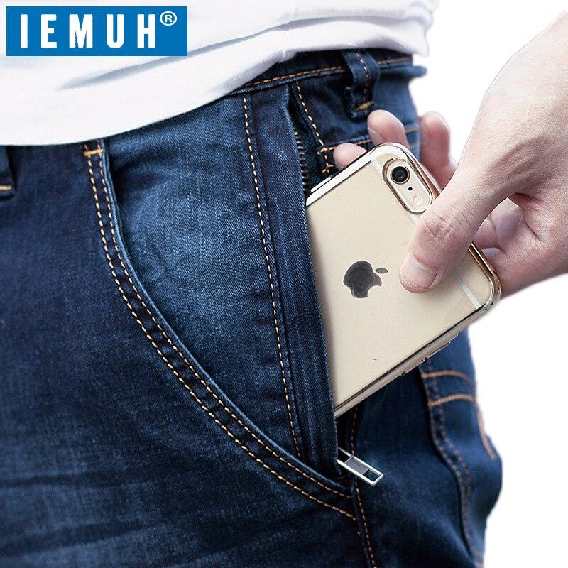 Iemuh زائد حجم الرجل الجينز الجينز عارضة منتصف الخصر فضفاض السراويل الطويلة الذكور الصلبة مستقيم الجينز للرجال الكلاسيكية 28 48-في جينز من ملابس الرجال على  مجموعة 2