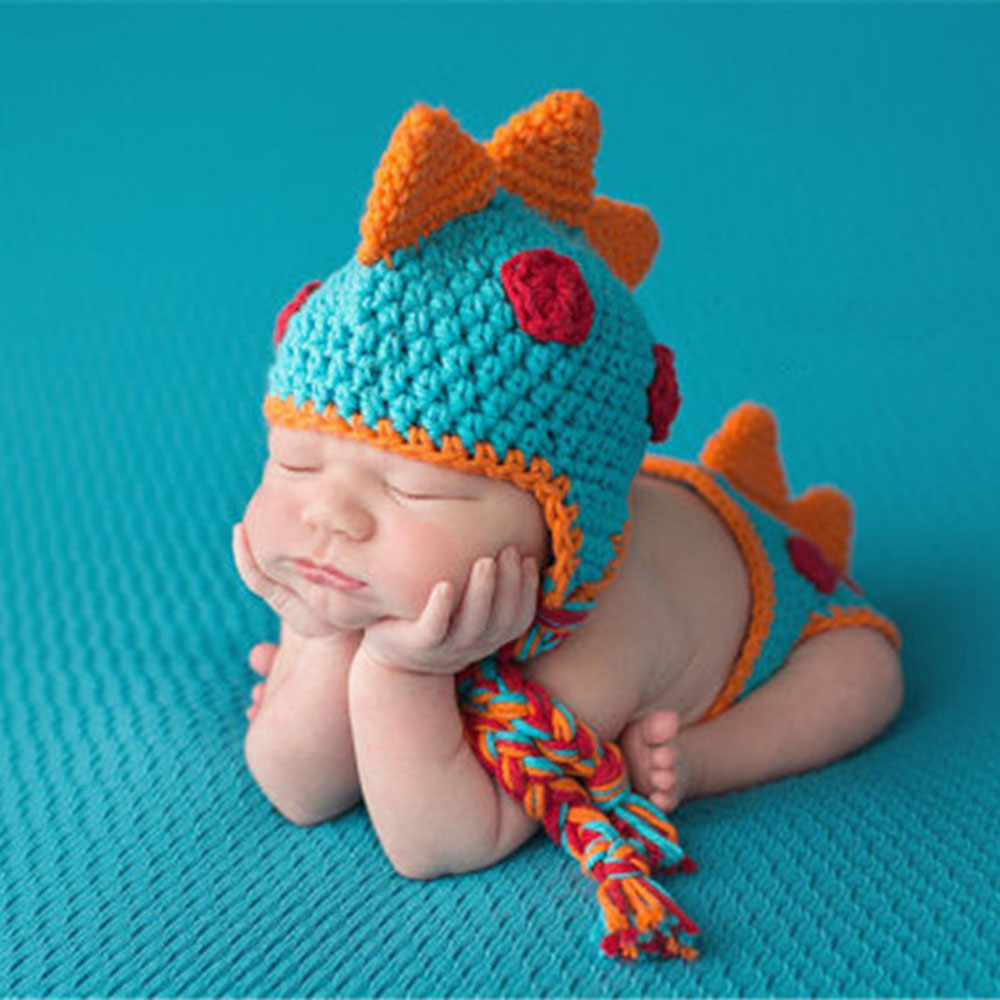 Crocheted Baby Boy Dinosaur Outfit Newborn Photography Props Handmade Knitted Photo Prop Infant Accessories H271 warmth flowers decor crocheted knitted mermaid tail shape blanket