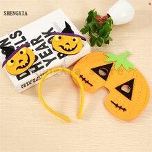 Halloween Headband Masquerade Performance Props Adult Children Pumpkin Headwear Mask Two piece Factory Wholesale