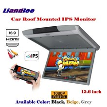 15.6 Inch Car Roof Mounted Monitor Overhead Ceiling IPS Screen / Flip Down Display MP5 Player HDMI / 1080P HD Digital Color TV цена и фото