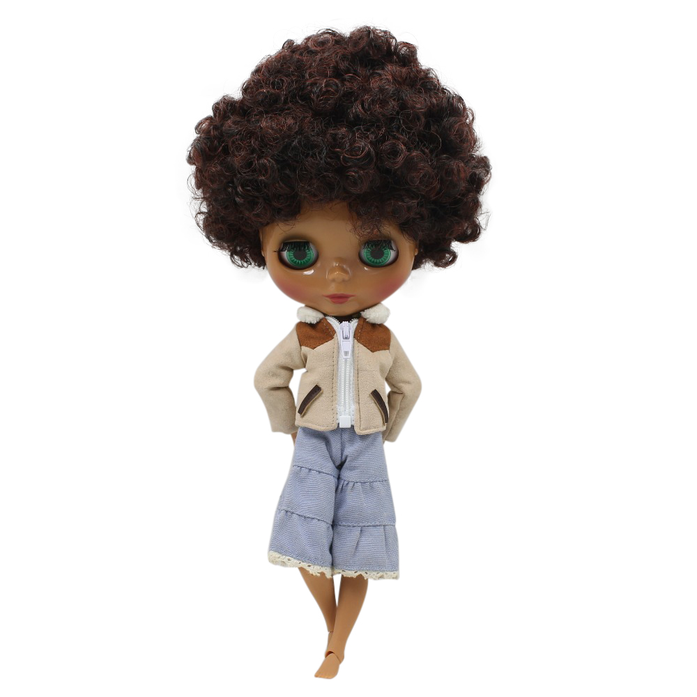 factory blyth doll dark skin joint body Afro curly red mix black hair toy gift BL9103/0362 bjd 1/6 30cm