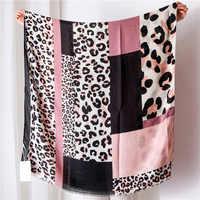 Mujer Punto de leopardo Patchwork franja de viscosa chal bufanda España marca de lujo Printe Pashminas Snood Bufandas sjaal musulmán 180*100Cm
